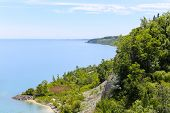stock photo of bluff  - High view from the top of Scarborough Bluffs in Toronto - JPG