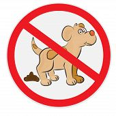 stock photo of pooping  - Vector illustration of no dog poop sign - JPG
