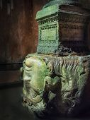 stock photo of medusa  - Medusa head in Underground Basilica Cistern Istanbul Turkey - JPG