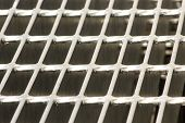stock photo of grating  - galvanized grating ,beautiful close-up of a grating made of steel