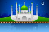 picture of eid ka chand mubarak  - easy to edit vector illustration of decorated mosque on Eid Mubarak  - JPG