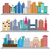 foto of skyscrapers  - easy to edit vector illustration of cityscape with skyscraper building - JPG