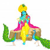 foto of dharma  - easy to edit vector illustration of Lord Krishna - JPG
