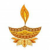 stock photo of rangoli  - easy to edit vector illustration of Diwali diya  in floral design - JPG