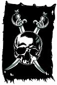 stock photo of saber  - pirate flag with skull and crossed sabers - JPG