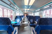 image of first class  - first class train carriage with blue seats - JPG