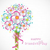 picture of  friends forever  - Colourful paper flower bunch on grey background for Happy Friendship Day celebrations - JPG