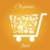 picture of grocery cart  - Shopping cart made of fruits vegetables meat and grocery healthy organic food concept vector illustration - JPG