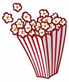 image of tub  - Popcorn in a striped tub vector illustration on white background - JPG