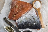 image of chums  - Smoked marinated salmon and ingredients on the kitchen table - JPG