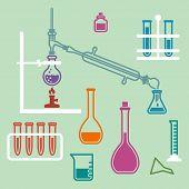 stock photo of retort  - Various glass chemistry lab equipment - JPG