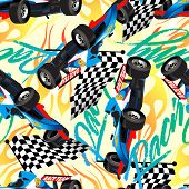 foto of dragster  - racing with checkered flag seamless pattern  - JPG