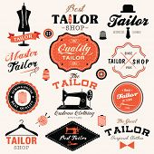 stock photo of tailoring  - Collection of vintage retro tailor labels - JPG