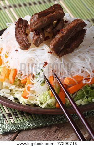 Salad Of Rice Noodles With Meat And Vegetables Vertical
