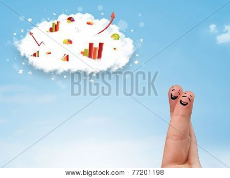 Happy finger smiley faces on hand with graph cloud icons in the sky