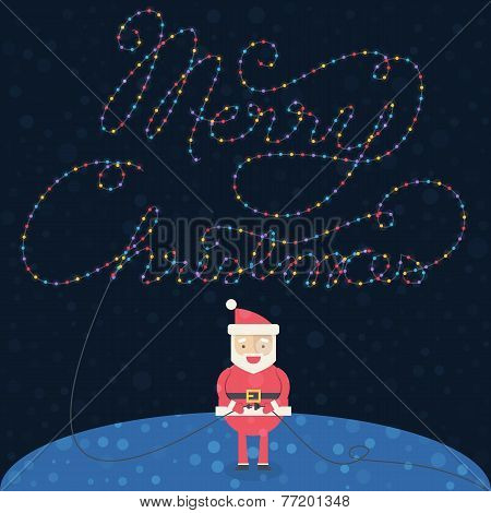 Merry Christmas illustration. Christmas card with Santa Claus. Santa Claus with a garland