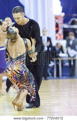 Minsk-belarus, October 4,2014: Aleksei Tkachuk And Nadezhda Volui Perform Adult Latin-american Progr