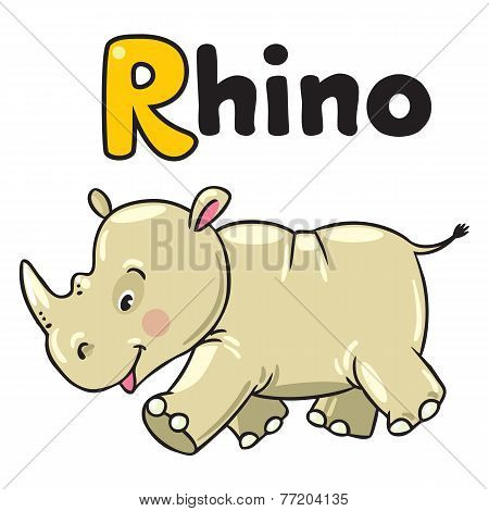 Little rhino for ABC. Alphabet R