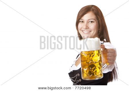 Smiling Woman In Dirndl Dress Holds Oktoberfest Beer Stein (mass)