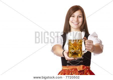 Young Bavarian Woman Holds Oktoberfest Beer Stein