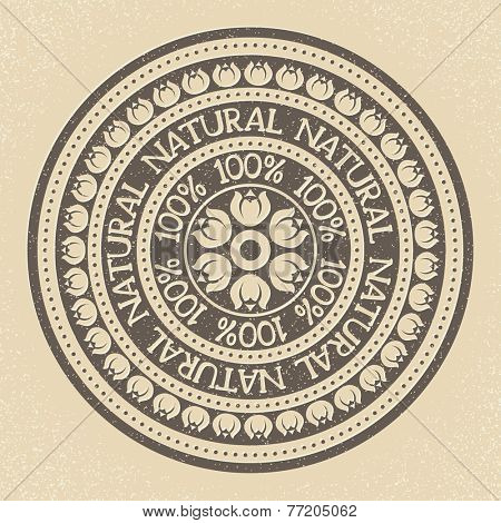 100% Natural stamp label, vector