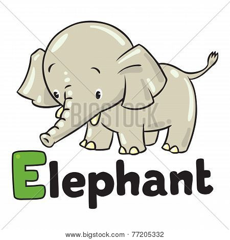 Little funny elephant or jumbo. Alphabet E