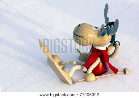 Christmas Deer Skier In Snow, Clouse Up