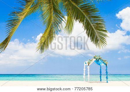 beautiful decorated arch, gazebo, cabana, beach wedding