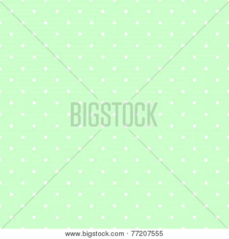 Seamless vector pattern with white polka dots on green tile background