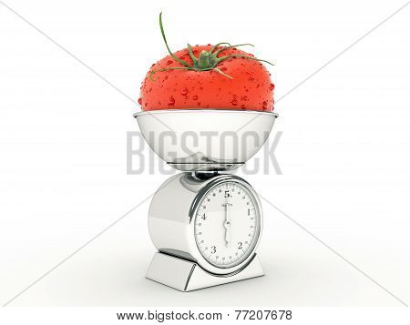 kitchen scale with giant tomato