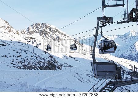 Ski Lift In Mountains