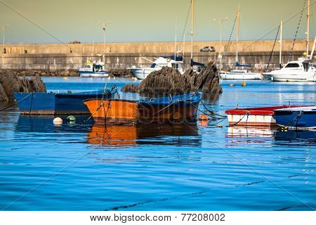 Boats In The Fishing Port From Cudillero, Asturias, Spain.