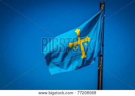 Flag Of Spanish Asturias Autonomous Community Waving In The Wind Detail