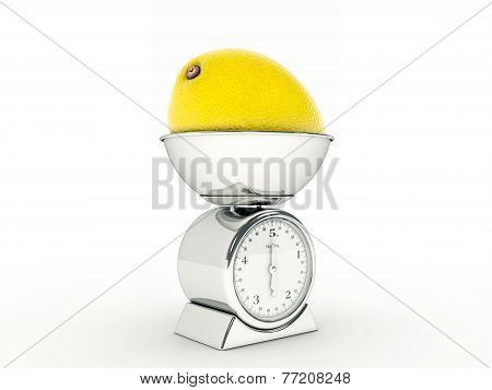 kitchen scale with giant lemon