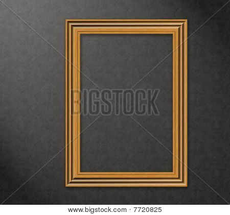 Wood Frame On A Wall - High Resolution