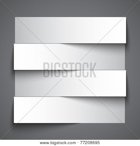 Infographics blank paper stripe banners with shadows on dark grey background