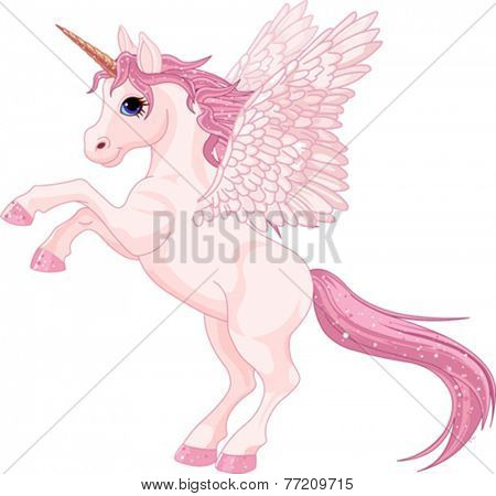 Illustration of beautiful pink Unicorn Pegasus