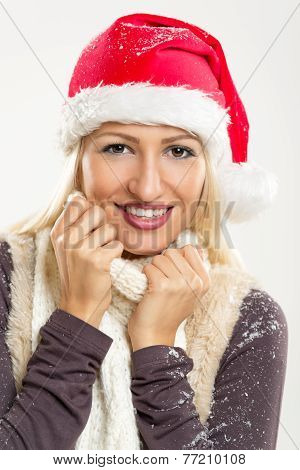 Cute Girl With Santa's Hat