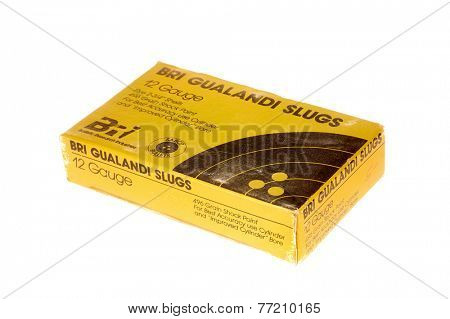 Hayward, CA - November 26, 2014: Box of BRI Gualandi brand12 Gauge shells with slugs