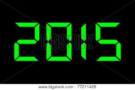 Year 2015, Digital Green Numbers On Black