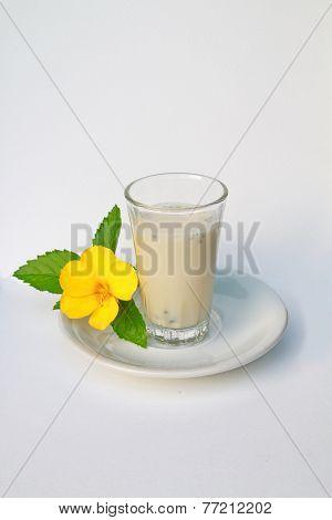 Soy Milk With Lemon Basil