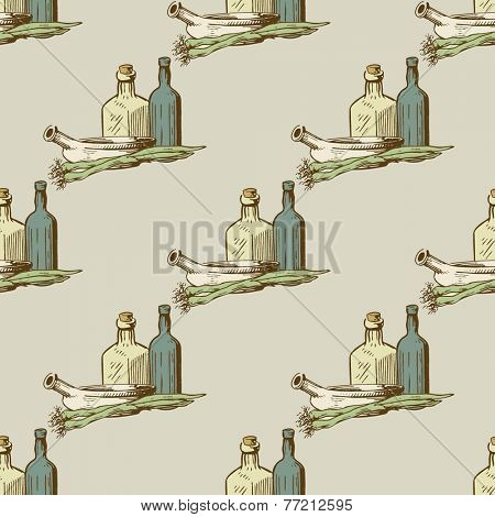 Seamless vector pattern  with kitchen utensils and dishware in retro style.