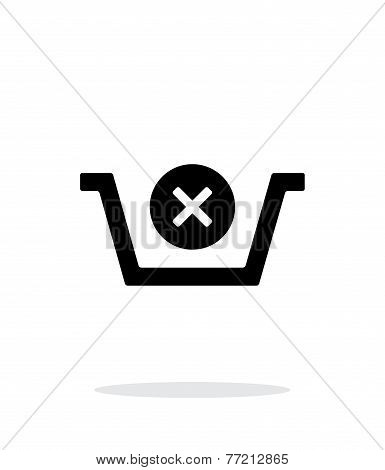 Shopping basket delete simple icon on white background.
