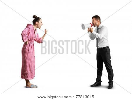quarrel between angry man and screaming woman. isolated on white background