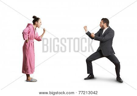 fight between angry wife and emotional husband. isolated on white background