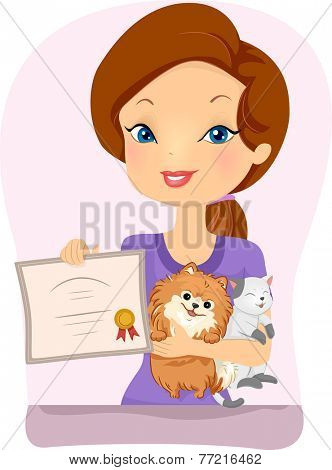 Illustration Featuring a Woman Holding a Pet Registration Certificate