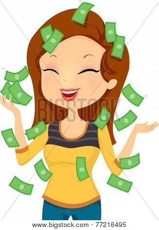 Illustration Featuring a Smiling Happily While Money Pours Down on Her