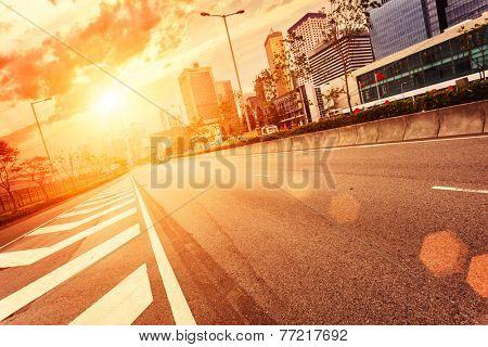 road and cityscape in modern urban city,Hongkong