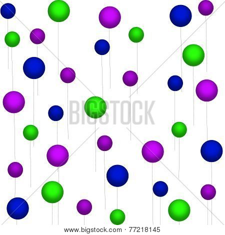 Purple-Green-Blue Balloons on White
