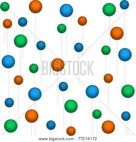 Orange-Blue-Green Balloons on White